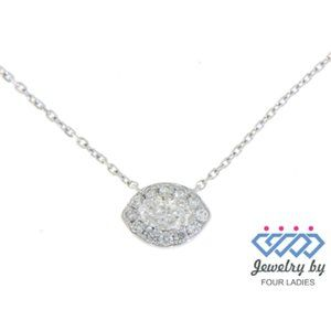 Solid Marquise Diamond Eye Necklace 14k White Gold